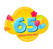 Cute Cartoon Template 65 Years Anniversary Vector Illustration. EPS10 vector illustration