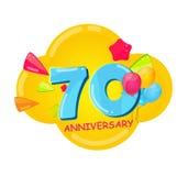 Cute Cartoon Template 70 Years Anniversary Vector Illustration. EPS10 stock illustration
