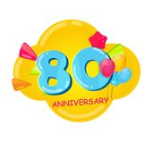 Cute Cartoon Template 80 Years Anniversary Vector Illustration. EPS10 Stock Photography