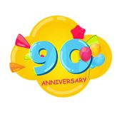 Cute Cartoon Template 90 Years Anniversary Vector Illustration. EPS10 Stock Image