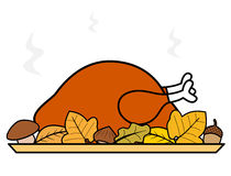 Cute cartoon thanksgiving day roasted turkey illustration Stock Images