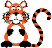Cute cartoon tiger. With stripes looking at you Stock Photography