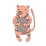 Cute cartoon tiger character, vector isolated illustration in simple style. Royalty Free Stock Photo