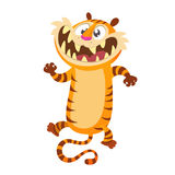 Cute cartoon tiger character. Wild animal collection. Baby education. Isolated. White background. Flat design Vector illustration. Stock Photo