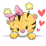 Cute Cartoon Tiger. With hearts on a white background stock illustration