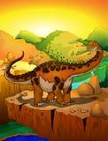 Cute cartoon titanosaur with landscape background. Vector illustration of a cartoon dinosaur Stock Photography
