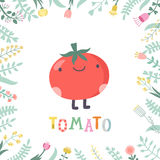 Cute cartoon tomato illustration with flowers and lettering. Stock Photos