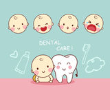 Cute cartoon tooth with baby Stock Images