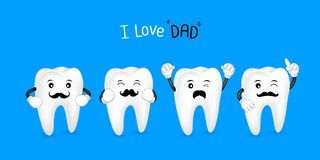 Cute cartoon tooth with black mustache. I love dad concept. Happy Father`s Day. Illustration isolated on blue background Stock Photo