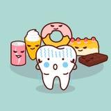Cute cartoon tooth cavity Royalty Free Stock Photos