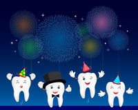 Cute cartoon tooth character with Colorful fireworks. Background for your holiday party design, Illustration Royalty Free Stock Image