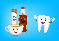 Cute cartoon tooth character fear acid of coffee. Aerated soft drink and cigarette. Dental care concept, illustration  on blue background Stock Image