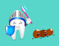 Cute cartoon tooth character with shield, head protection and toothbrush with toothpaste. Royalty Free Stock Photography