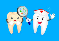 Cute cartoon tooth character take magnifying. To check decay problem. Dental care concept, illustration  on blue background Royalty Free Stock Image