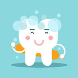 Cute cartoon tooth character washing himself, dental vector Illustration for kids royalty free illustration