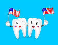 Cute cartoon tooth character waving american flag. Royalty Free Stock Images