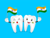 Cute cartoon tooth character waving India flag. Royalty Free Stock Photography