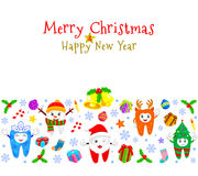 Cute cartoon tooth characters with Christmas elements background. Royalty Free Stock Photos