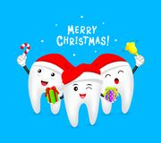 Cute cartoon Tooth Characters design wearing Santa hat. Stock Photo