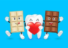 Cute cartoon tooth and Chocolate character with love. Dental care concept. Funny illustration isolated on blue background Royalty Free Stock Image