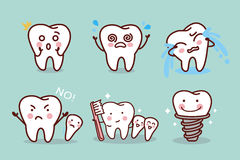 Cute cartoon tooth expression Royalty Free Stock Image