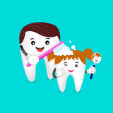 Cute cartoon tooth family. Dad brushing tooth daughter. Royalty Free Stock Photo