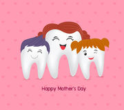 Cute cartoon tooth family. Stock Photo