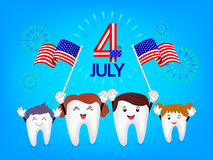 Cute cartoon tooth family waving american flag. Royalty Free Stock Images