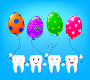 Cute cartoon tooth holding egg shape balloons. Stock Image