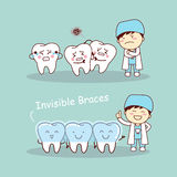 Cute cartoon tooth invisible braces. With dentist doctor, great for health dental care concept Stock Photography