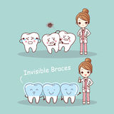 Cute cartoon tooth invisible braces. With dentist doctor, great for health dental care concept Stock Image