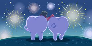 Cartoon tooth looking fireworks. Cute cartoon tooth looking fireworks on grass Stock Photo