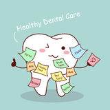 Cute cartoon tooth with memo Royalty Free Stock Photo