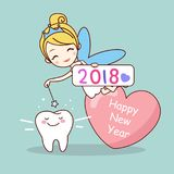 Tooth with new year. Cute cartoon tooth note with tooth fairy Royalty Free Stock Photo