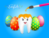 Cute cartoon tooth with paintbrush. Royalty Free Stock Photography