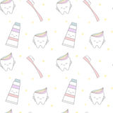 Cute cartoon tooth with rainbow toothpaste and pink tooth brush seamless pattern background illustration. Cute cartoon tooth with rainbow toothpaste and pink royalty free illustration