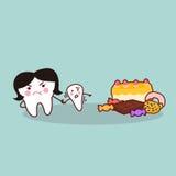 Cute cartoon tooth resist dessert Stock Image