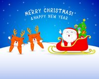 Cute cartoon tooth Santa Claus with reindeer and sleigh. Merry Christmas and happy new year. Illustration on blue background Royalty Free Stock Photos
