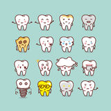 Cute cartoon tooth set Royalty Free Stock Image