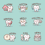 Cute cartoon tooth set Royalty Free Stock Images