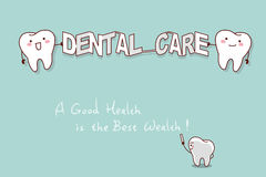 Cute cartoon tooth. Smile happily with dental care Stock Photo