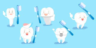 Cute cartoon tooth take brush Royalty Free Stock Images