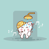 Cute cartoon tooth taking shower Royalty Free Stock Images