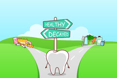 Cute cartoon tooth think confused Royalty Free Stock Photo