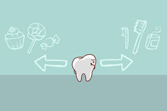 Cute cartoon tooth think confused Stock Photo