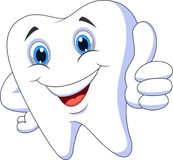 Cute cartoon tooth with thumb up. Illustration of Cute cartoon tooth with thumb up Royalty Free Stock Photos