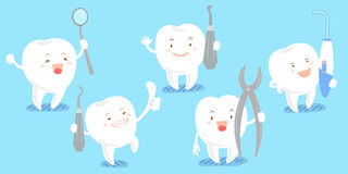 Cute cartoon tooth with tool. Cute cartoon tooth smile happily with tool stock illustration