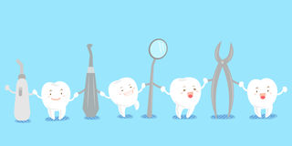 Cute cartoon tooth with tool. Cute cartoon tooth smile happily with tool Royalty Free Stock Photography