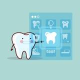 Cute cartoon tooth touch icon Stock Photos