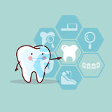 Cute cartoon tooth touch icon Royalty Free Stock Image